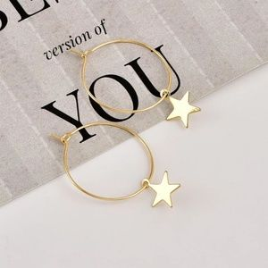 Jewelry - 3/$30 Set of Star Circle Hoop Gold Silver Earrings